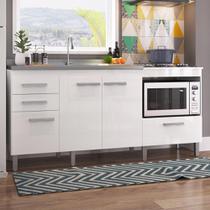 Balcão De Cozinha Para Pia 2 Portas Cooktop 4 Bocas E Forno Roma 26910 Branco - Pnr Móveis -