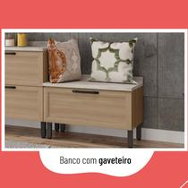 Balcão de Cozinha Thela Baunilha Banco 80 cm Salina -