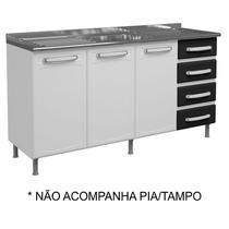 Balcão Gabinete de Pia Evidence Aço 160cm 3 Portas Branco/Preto - Bertolini -