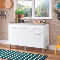Balcão Multiuso de Cozinha 3 Portas 1 Gaveta Joy Decibal Moveis Branco -