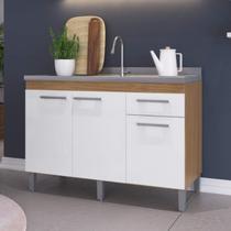 Balcão Multiuso de Cozinha 3 Portas 1 Gaveta Joy Decibal Naturalle/Branco -