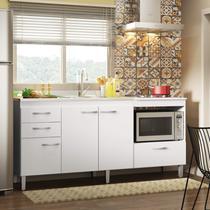 Balcão Multiuso de Cozinha 3 Portas 3 Gavetas Lev Decibal Branco -