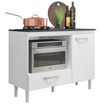 Balcão Multiuso para Cooktop e Forno Microondas Fit Branco - Nicioli -
