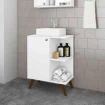 Balcão para Banheiro Retrô com 1 Porta Branco Movelbento -