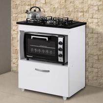 Balcão  para Cooktop e Forno Smart Espresso Móveis Branco -