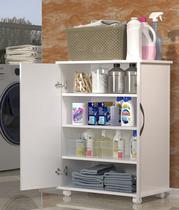 Balcão Para Lavanderia c/ Rodas Branco Multiuso Produtos Limpeza - Clickforte