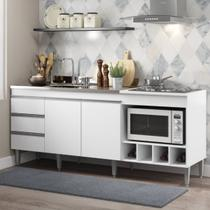Balcão para Pia de Cozinha Completo 182 Cm Adega Cooktop 02 Portas 3 Gv MDP Branco 2035 - MENU - Menu Móveis