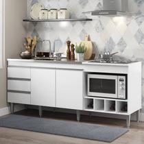 Balcão para Pia de Cozinha Completo 182 Cm Adega Cooktop 02 Portas 3 Gv MDP Branco 2035 - MENU - MenuMóveis
