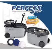 Balde Esfregão Mop Girátorio Premium Inox C/3 Refis - Prático e Resistente Original Perfect - PERFECT PRO