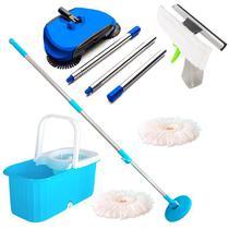 Balde Mop Esfregão Com Rodinhas, 2 Refis, Limpa Vidros e Vassoura Mágica - Vendasshop