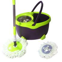 Balde Mop Esfregao De Limpeza Inox Grande Verde 16L Resistente Com 1 Refil (bsl-mop-6) - Braslu