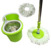 Balde Mop Esfregao Limpeza Inox Centrifuga Com Rodinhas + 1 Refil E 1 Dispenser Sabao (clb-03001 / mop-5) - Braslu