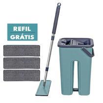 Balde Mop Rodo Multiuso Wash and Dry para limpeza esfregão+ Refil Extra - Washdry