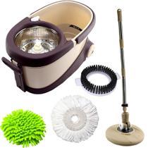 Balde perfect mop move 360 inox c/ 3 refis e recipiente de sabão -