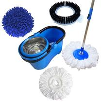 Balde Perfect Mop Pro 360 Inox Com 3 Refis Azul -