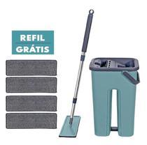 Balde Rodo Mop Multiuso Wash and Dry para limpeza esfregão+ Refil Extra - Washdry