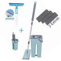 Balde Rodo Mop Wash And Dry Flat + Rodo Spray Multiuso limpador Refil Extra - Washdry