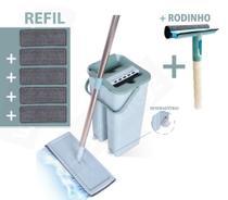 Balde Rodo Multiuso Mop Wash And Dry Flat Refil Extra Extra + Rodinho spray - WashDry