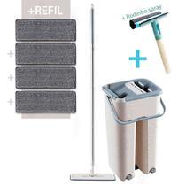 Balde Rodo Multiuso Mop Wash And Dry Flat + Refil Extra + Rodinho Spray - WashDry