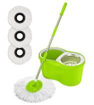 Balde Spin Mop 360 Com 3 Refil Esfregão Microfibra - Verde - Mazzilli