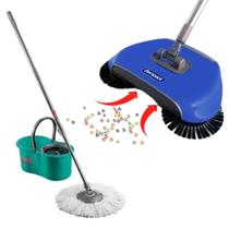 Balde Spin Mop Noviça 8 Litros Esfregão Giratório 360 Bettanin e Vassoura Mágica Mop Bompack Limpeza Seca 3 Em 1 -