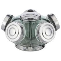 Baleiro De Vidro Giratório Mini 05 Potes 1 Andar Tampa Alumínio - Hypem