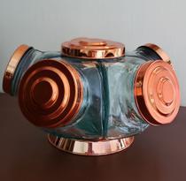 Baleiro Giratórios Médio  tampa na cor cobre - Boêmia