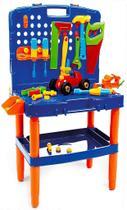 Bancada De Ferramentas Infantil 45 Peças Menino Maleta Resistente + 3 Anos Azul Poliplac Original - Vip toys
