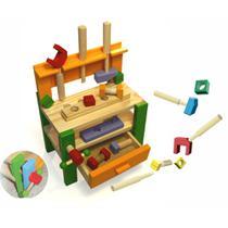 Bancada de ferramentas infantil brinquedo educativo para criança em madeira Carimbras -