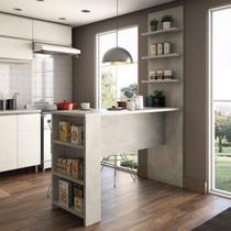 Bancada Mesa para Cozinha com Painel Suprema Siena Móveis Concreto -