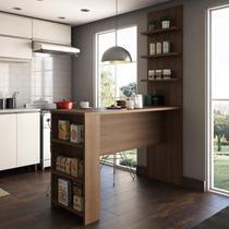 Bancada Mesa para Cozinha com Painel Suprema Siena Móveis Nogueira Dourado -