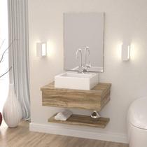 Bancada para Banheiro com Cuba Q35 Prateleira e Espelheira 606w Metrópole Compace -