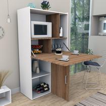 Bancada para Cozinha com Armário Multiuso C/ Nichos e 2 Portas e Mesa Branco e Castanho Appunto -