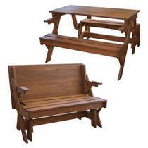 Banco que vira mesa 4 pessoas madeira maciça 1,30m cor natural - Mil Cadeiras