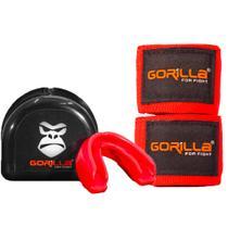 Bandagem Elástica + Protetor Bucal - Muay-Thai Boxe - Gorilla Cor: Vermelho -