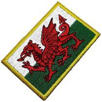 Bandeira País de Gales Patch Bordada Termo Adesivo Para Boné - Br44