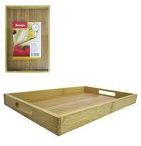 Bandeja de bambu retangular com alca 33,5x22x3cm - Casita/ imporiente