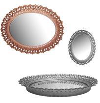 Bandeja De Plastico Com Espelho Oval Coracoes Metalizado 36,5X28Cm - Fwb