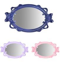 Bandeja de Plastico com Espelho Oval Laco Moldura Colonial e Alca Colors 37,5x23cm - Wellmix