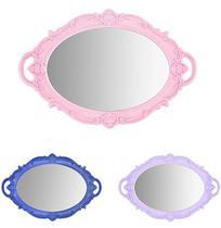 Bandeja de Plastico com Espelho Oval Moldura Colonial e Alca Colors 37x25cm - Wellmix