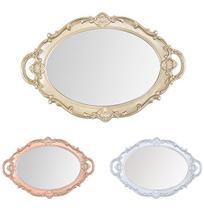 Bandeja de Plastico com Espelho Oval Moldura Colonial e Alca Metalizado 37x25cm - Wellmix