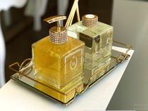 Bandeja Decorativa com Espelho Carol 10 X 20 Cm Golden - Ref 1625.10 Hara -