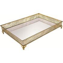 Bandeja dourada em metal com espelho 7227 - Mart