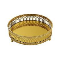Bandeja Dourada em Metal com Espelho MART 7149 -