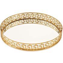 Bandeja em Metal com Espelho Dourada Mart Collection 09638 -