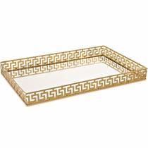 Bandeja em Metal com Espelho Dourada Mart Collection 09641 -