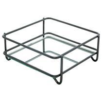 Bandeja Espelhada Fence Onix 10x10cm Quadrada - Hara