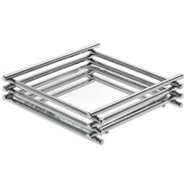 Bandeja Espelhada Wire Cromada 10x10cm Quadrada - Hara