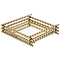 Bandeja Espelhada Wire Golden 10x10cm Quadrada - Hara