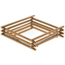 Bandeja Espelhada Wire Rosé Gold 10x10cm Quadrada - Hara